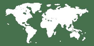 Eine Weltkarte in weiß, welche zeigt das Köberlein & Seigert weltweit agiert.