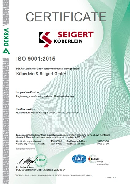Köberlein & Seigert DEKRA ISO 9001 quality management certificate